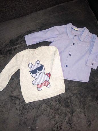 Komplet koszula i sweterek Benetton baby