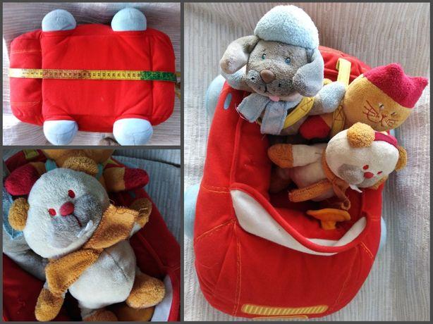 Zabawka dla malucha, Pluszowy samochód z pasażerami 40cm.