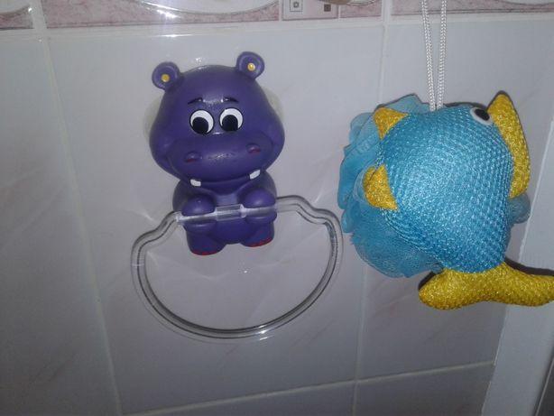 Подарочный набор детский бегемотик держатель для полотенца мочалка