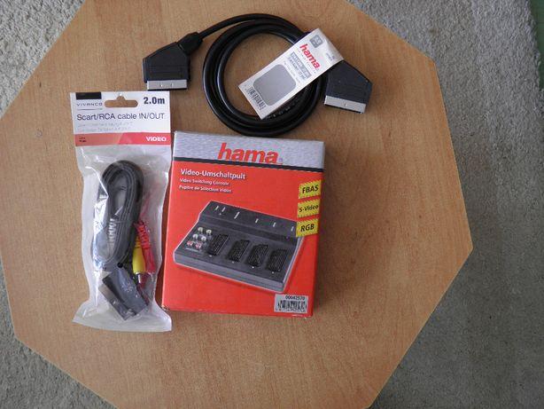 Przełącznik Video Hama + przewody Scart/RCA i Scart