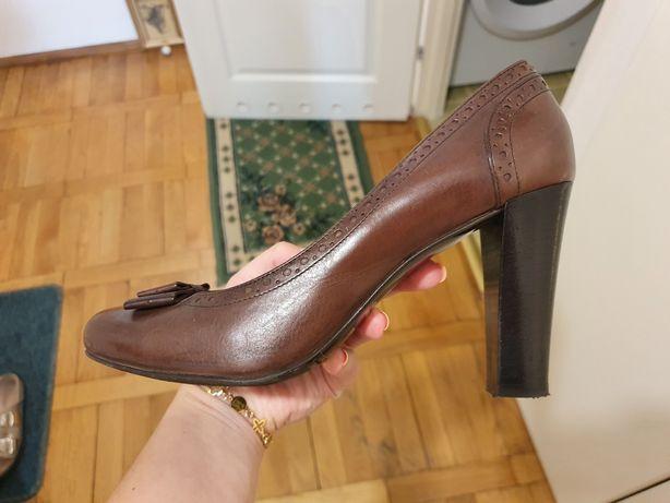 Pantofle gino rossi 40 brązowe szpilki mokasyny skóra czarne
