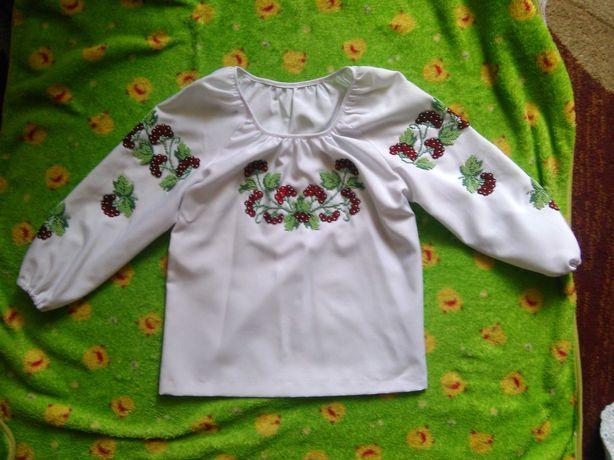 вышиванка вышитая бисером 6-11 лет девочка длинный рукав