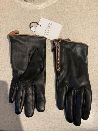 Rękawiczki czarne skórzane