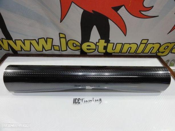 Papel / vinil autocolante em carbono 5D preto brilhante rolo com 2m x 0,50m