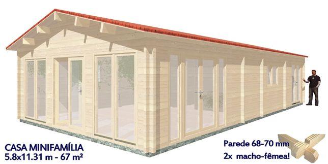 Casa de Madeira MINIFAMÌLIA - 67 m² - 68-250 mm Casa Pre-Fabricada