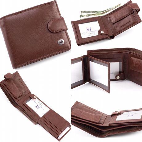 Мужской кожаный кошелек коричневого цвета ST Leather из турция