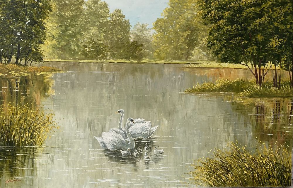 картина с лебедями 110х70 Киев - изображение 1