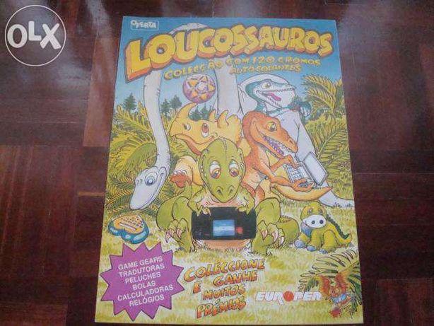 Colecção cromos Caderneta Loucossauros com 34 cromos