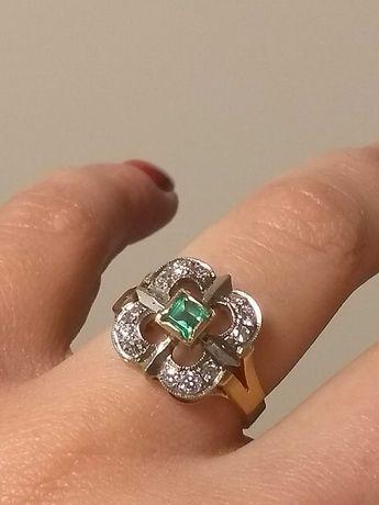 Złoty pierścionek brylanty i szmaragd vintage pr.750/0,31ct/r.16/7,3g