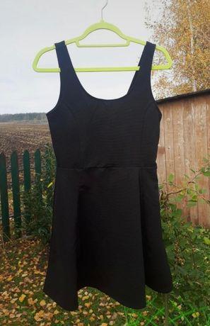 Nowa czarna rozkloszowana krótka sukienka letnia H&M L XL