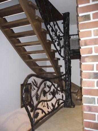 Balustrada kuta z motywem roślinnym Dąb, barierki metalowa, balustrada