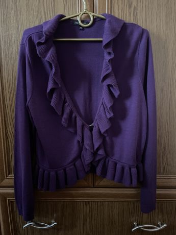 Sweterek z falbanami XL rozpinany