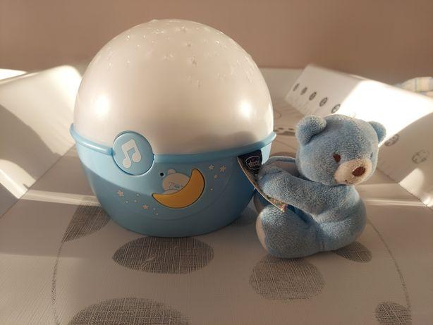 Projektor lampka nocka pozytywka Chicco niebieska mis