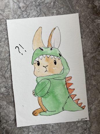 Kartka okolicznościowa wielkanocna wielkanoc królik dinozaur