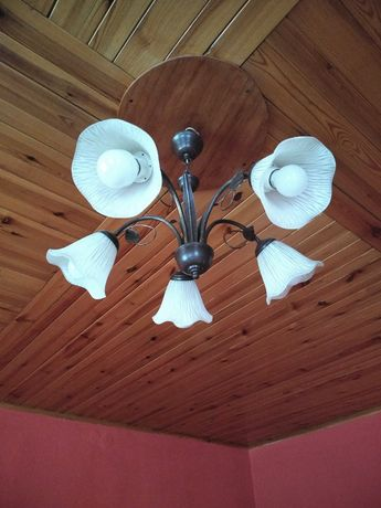 Żyrandol lampa 5 ramienna kielich kwiat + żarówki do kolekcji