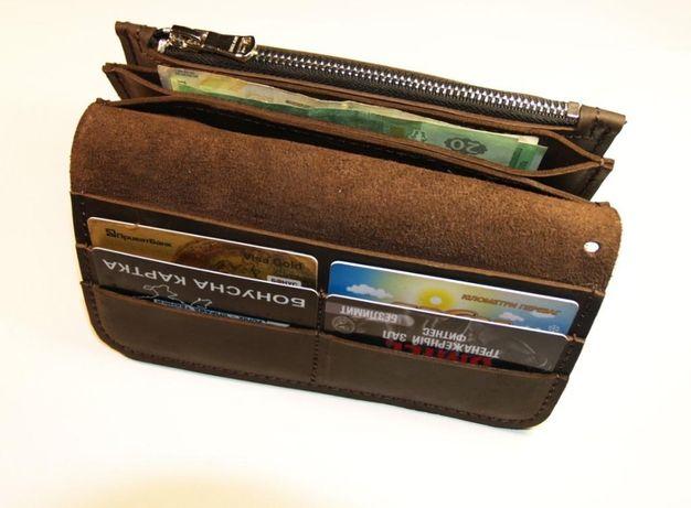 Кожаный кошелек ручной работы (Унисекс). Натуральная кожа