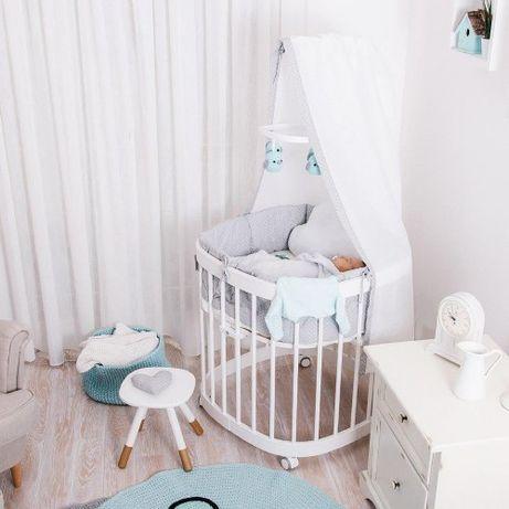 Детская кроватка дитяче ліжечко Tweeto 7 в 1 овальна кругла