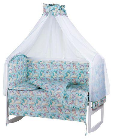 Комплект детской постели в кроватку. Балдахин, защита, одеяло 8 предме