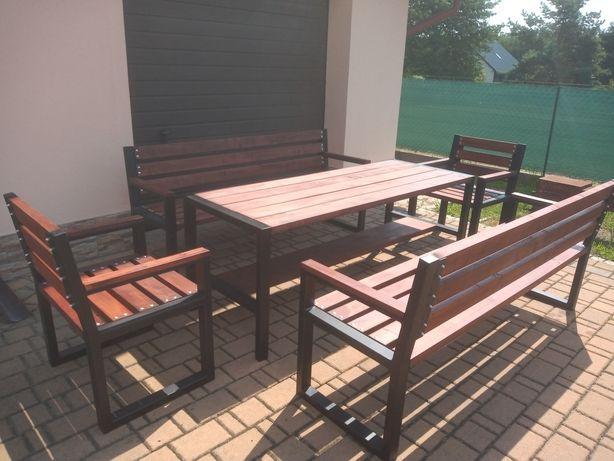 Zestaw mebli ogrodowych, ławka, stół, fotel