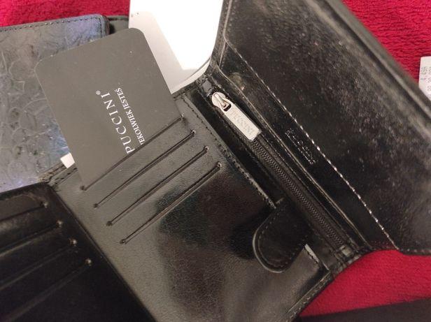 Nowy męski skórzany czarny portfel Puccini w pudełku skóra na prezent