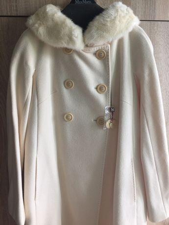MAX MARA, оригинал. Очень красивое кашемировое пальто с белой норкой ,