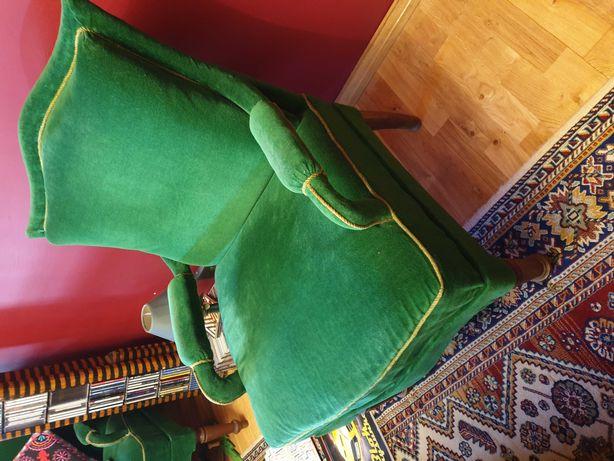 Sofa oraz 2 fotele, butelkowa zieleń