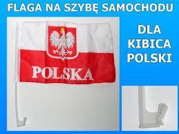 Flagi Flaga Kibica Polski Biało-Czerwona na Szybę Samochodową ( Obsz.)