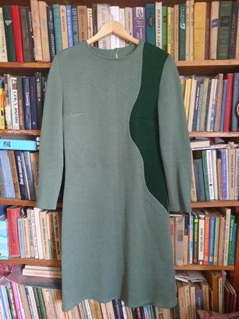 Вязаный теплый костюм-комплект/платье-футляр и пальто-кардиган_р.46-48