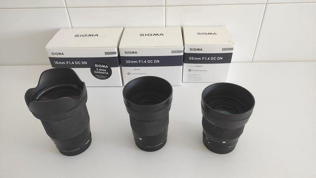 Sigma 16mm f1.4 + sigma 30mm f1.4 + sigma 56 f1.4 para Sony e-mount