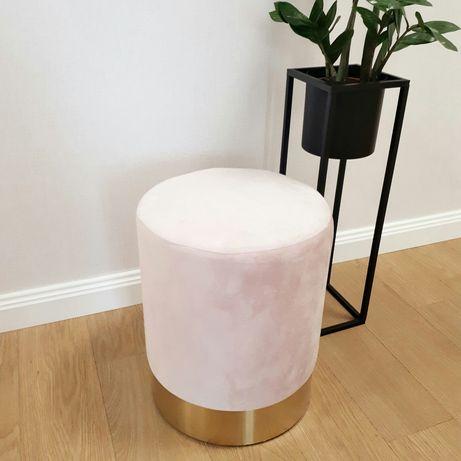 Пуфик, подставка для ног, розовый с золотым цоколем