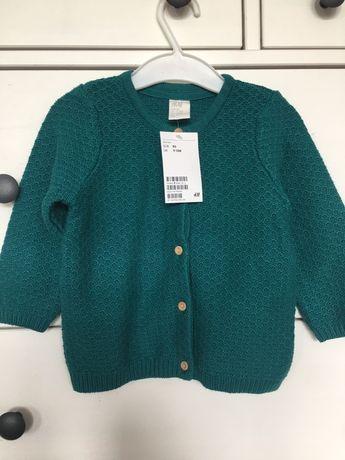 Nowy sweterek sweter rozpinany turkusowy morski zielony 80/86 h&m