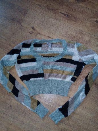 Sweter H&M Krótki Print Długi Rękaw rozm. 34
