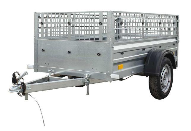 Przyczepa samochodowa 200 x 106 lekka z burtami siatkowymi DMC 750 KG