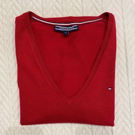 Oryginalny sweter bordowy w serek Tommy Hilfiger nowy wełniany wełna
