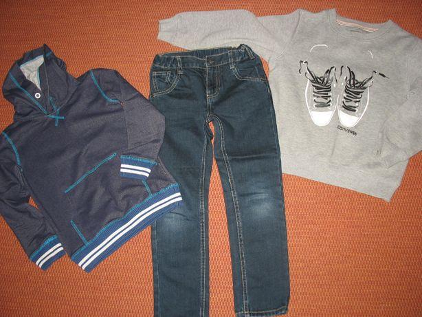 Jeansy i 2 bluzy dla chłopca w roz. 116 firmowe