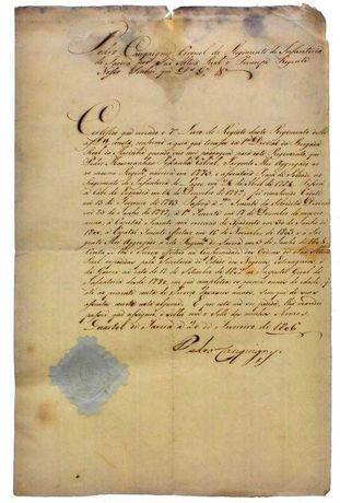 Documento militar antigo 1806