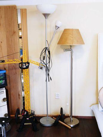 Lampa podłogowa IKEA NOT do czytania dwie żarówki metaliczny