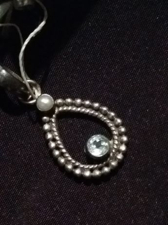 Кулон серебро ,жемчуг ,голубой топаз