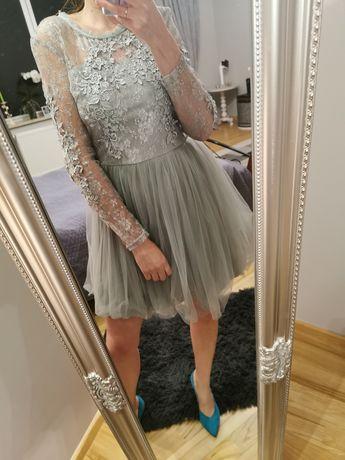 Stan Idealny! Sukienka Tiulowa z koronką! na wesele! roz. 36