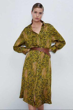 Легкое сатиновое платье в оливковый принт zara