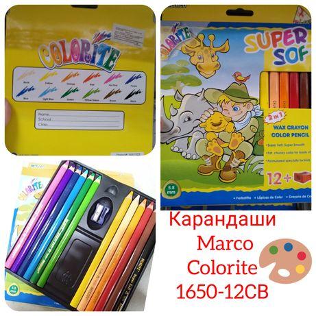 Карандаши цветные восковые MARCO Colorite Jumbo (12 цветов) 1650-12C
