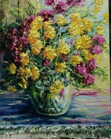 Картина* Букет хризантем*,50*40.