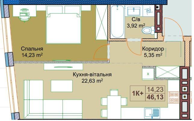 Продаж 1 кім. новобудова Парус Сіті Кульпарківська