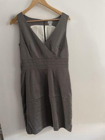 Sukienka ołówkowa biurowa h&m szara szary melanż. Rozmiar 40 L.