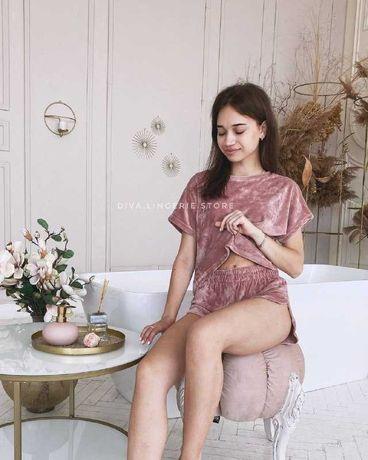 Плюшева велюрова піжама - футболка і шорти, жіноча осіння піжама
