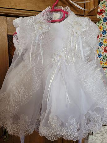 Zjawiskowa Bajeczna Sukienka 92-104 cm  koronkowa biała chrzest roczek