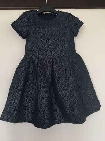 Платье нарядное Chicco из парчи на батист подкладке синее р8лет/128см