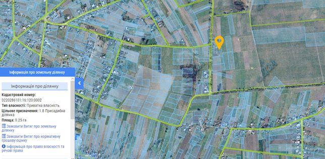 Участок 25 сот. с Перемога, Барышев р-н 45 км от Киева, под застройку