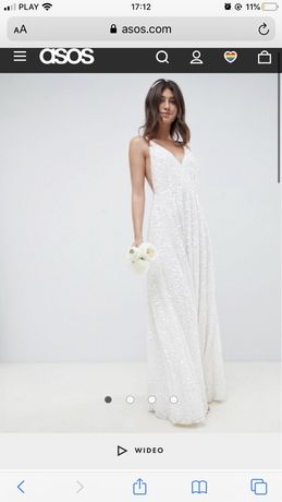 Suknia ślubna cekiny sukienka biała stan idealny odkryte plecy 36 S