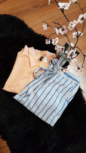 Cudny zestaw:) spodnie cygaretki ZARA koszula morelowa H&M roz XS